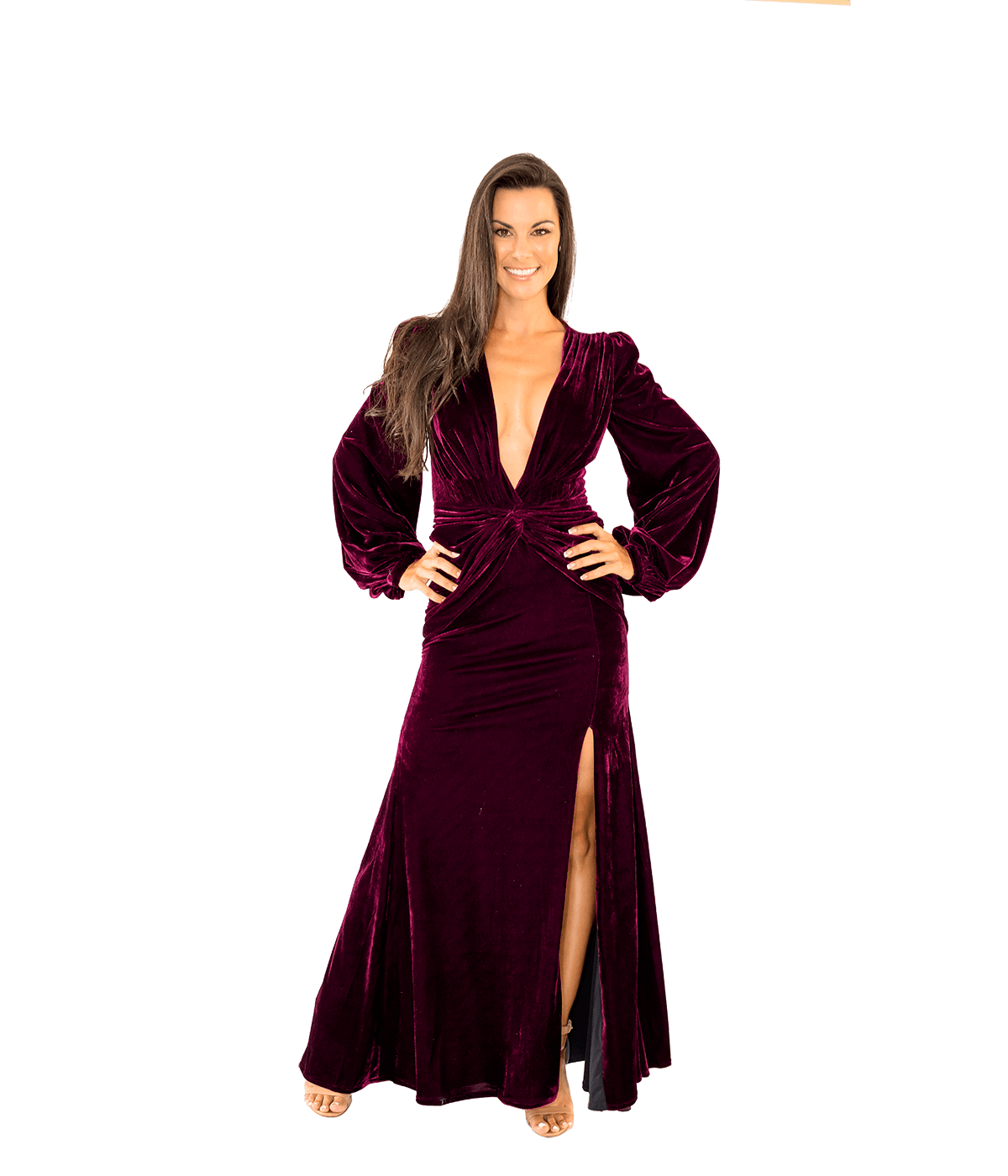 Velvet Long Sleeve Gown - Lady Jetset