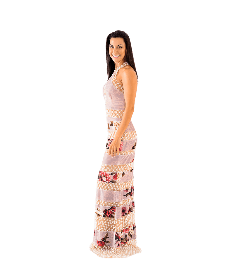 Printed Velvet Pearl Beaded Gown - Lady Jetset