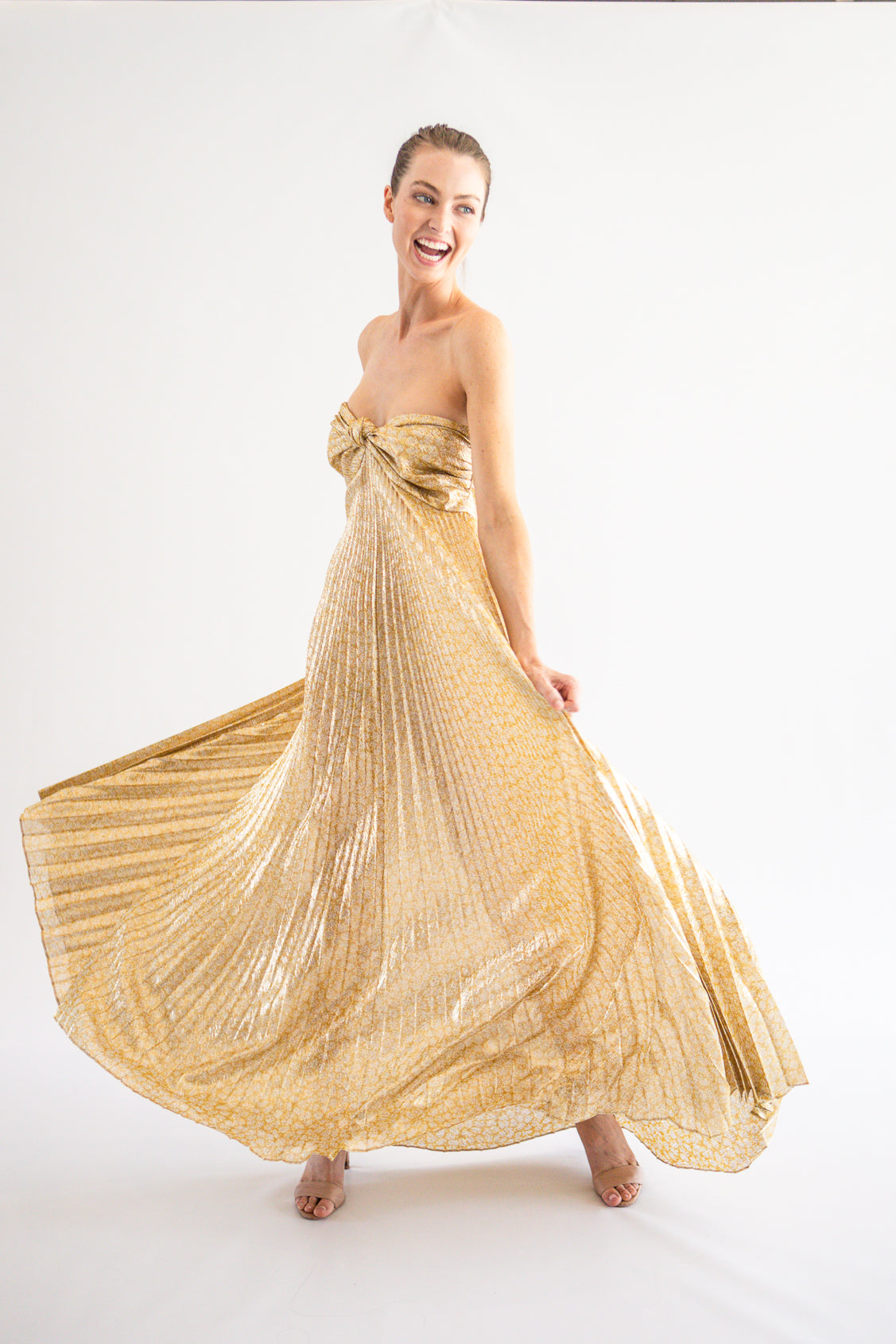 FINAL SALE Joya Gold Pleated - Lady Jetset
