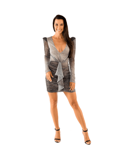 Ombre Lurex Ruched Mini Dress - Lady Jetset