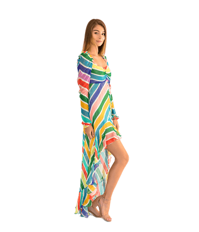 Mirage Long Sleeve High Low Dress - Lady Jetset