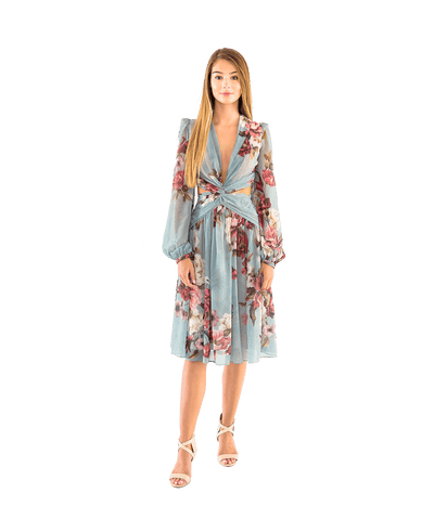 Peony Print Cutout Midi Dress - Lady Jetset