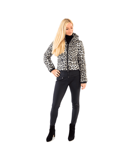 Lua High Neck Leopard Ski Bomber Jacket - Lady Jetset