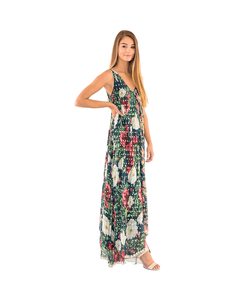 Della Fall Floral Sleeveless Maxi Dress - Lady Jetset
