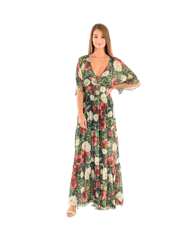 Navy Floral Tiered Maxi Dress - Lady Jetset