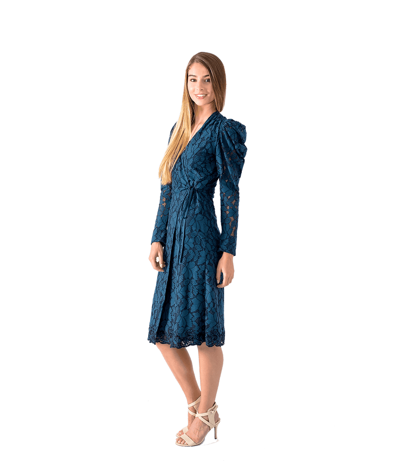 Siana Prussian Blue Lace Dress - Lady Jetset