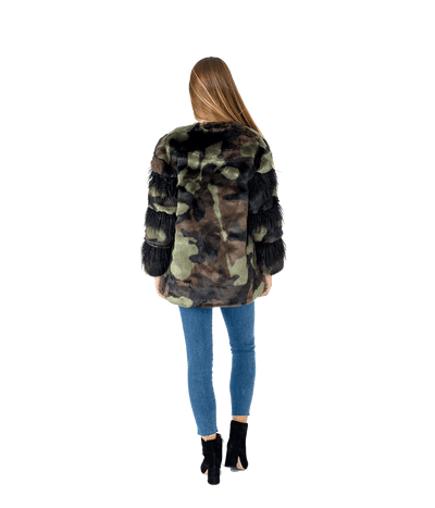 Glitz Camo Sequin Faux Fur Jacket - Lady Jetset