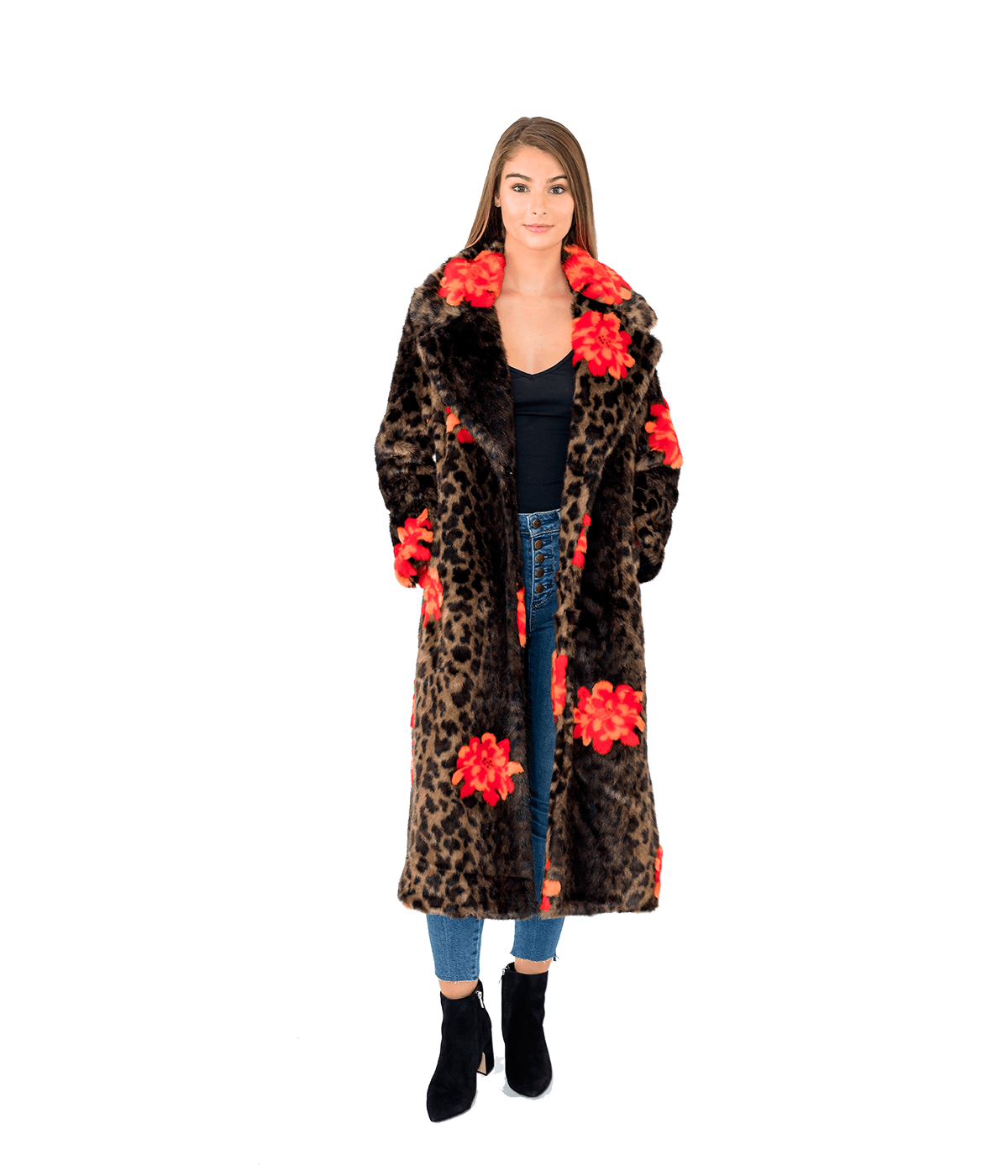 Jungle Flower Faux Fur Overcoat - Lady Jetset
