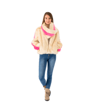 Load image into Gallery viewer, Faux Fur Contrast Stripe Jacket and Scarf - Lady Jetset