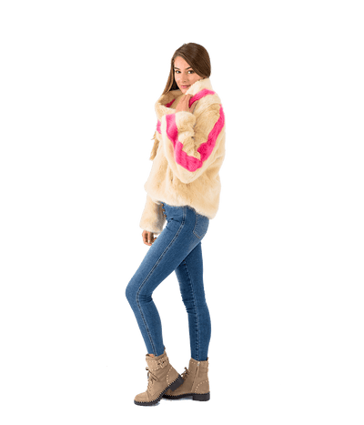 Faux Fur Contrast Stripe Jacket and Scarf - Lady Jetset