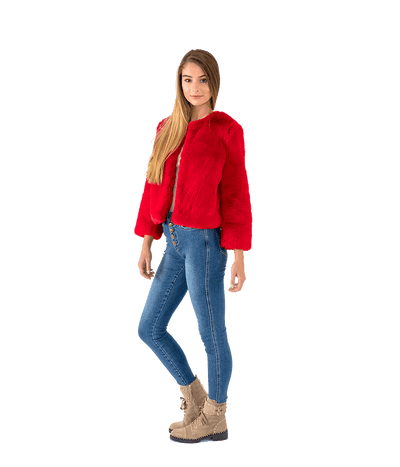 Bright Red Faux Fur Jacket - Lady Jetset