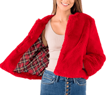 Load image into Gallery viewer, Bright Red Faux Fur Jacket - Lady Jetset