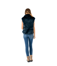 Load image into Gallery viewer, Petrol Blue Faux Fur Vest - Lady Jetset