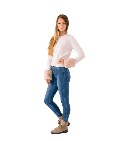 Crewneck Sweater with Faux Fur Cuffs - Lady Jetset