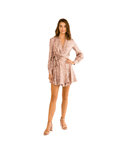 Beige Dot Long Sleeve Mini Wrap Dress - Lady Jetset