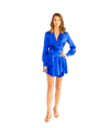 Light Cobalt Long Sleeve Wrap Mini Dress - Lady Jetset