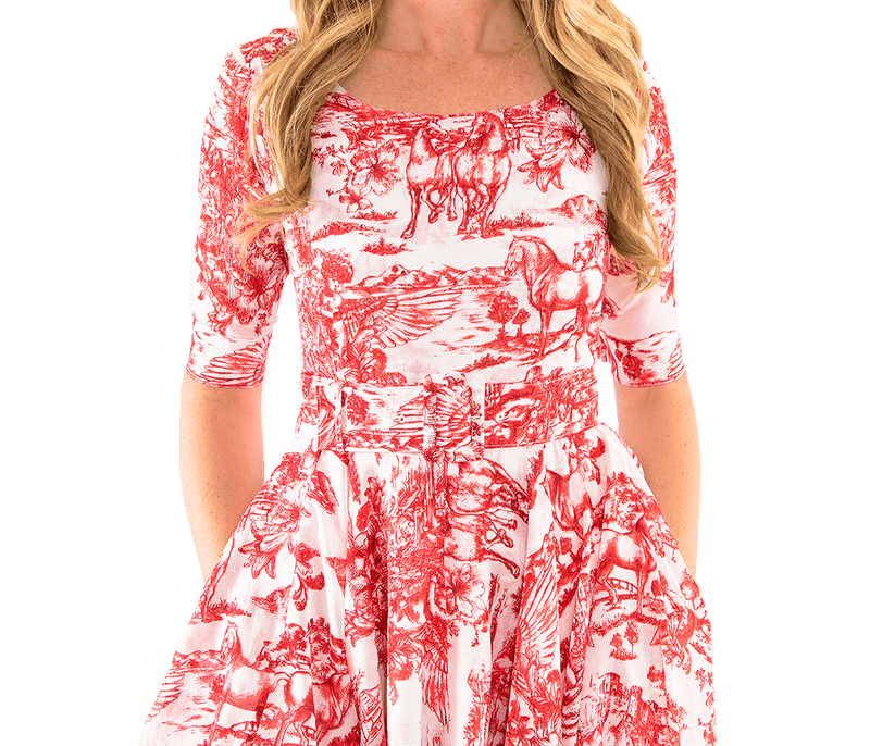 Aster Dress - Red Toile - Lady Jetset