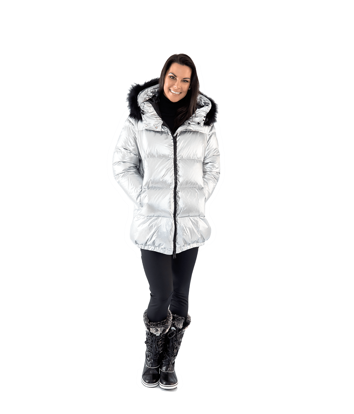 Silver Metal Hooded Parka - Lady Jetset