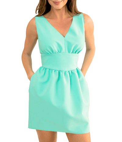 V-Neck Ruched Mini Dress - Lady Jetset