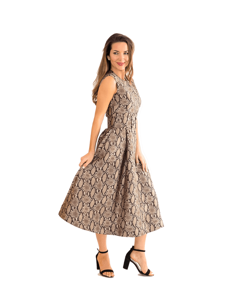 Snakeskin Print Belted Midi Dress - Lady Jetset