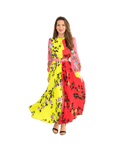Color Block Rose Dress - Lady Jetset