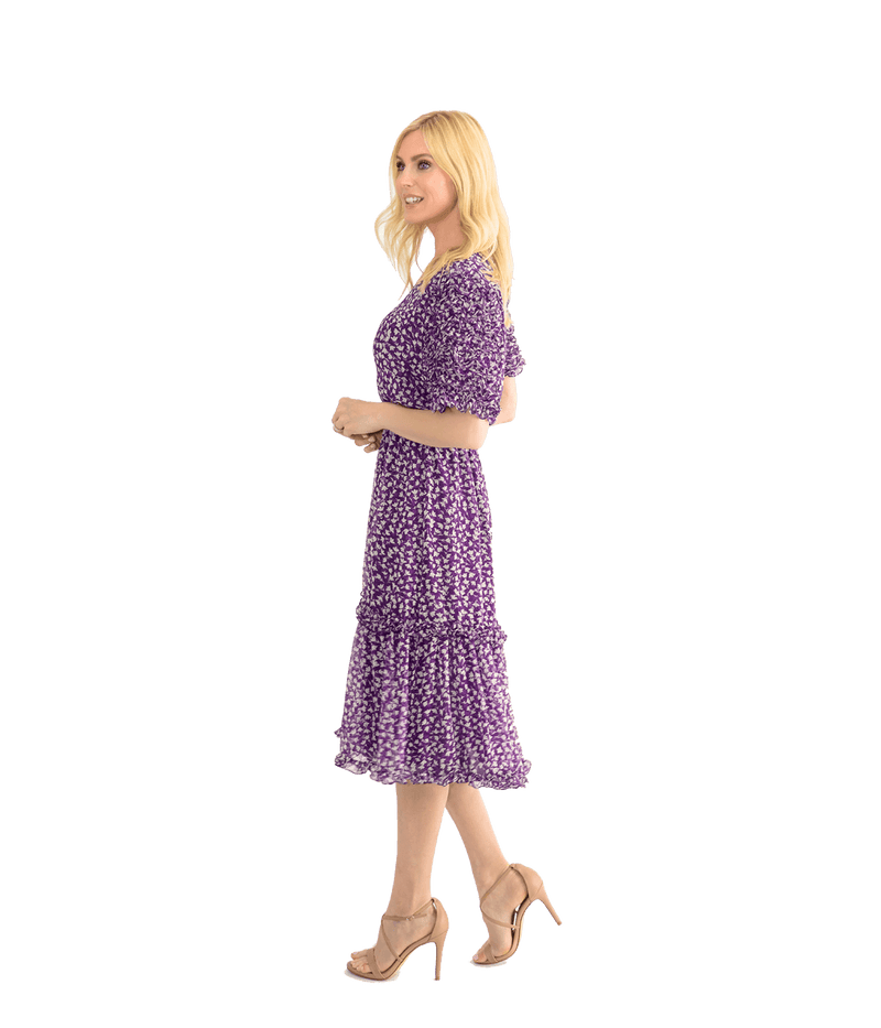 Purple Flower Silk Chiffon Dress - Lady Jetset