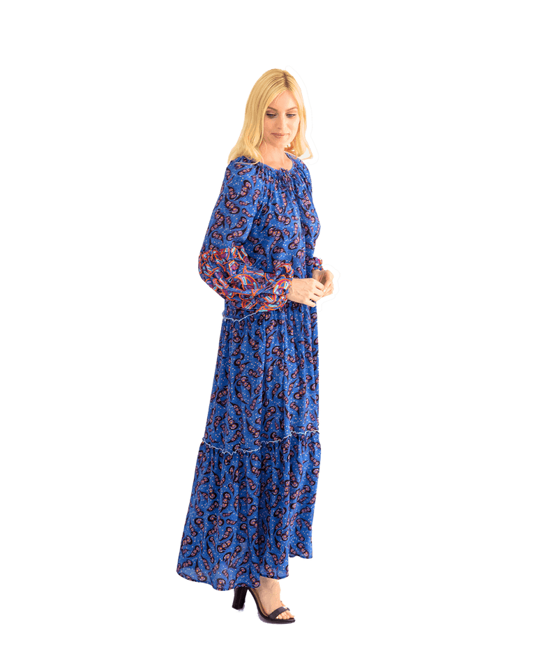 Embroidered Paisley Maxi Dress - Lady Jetset