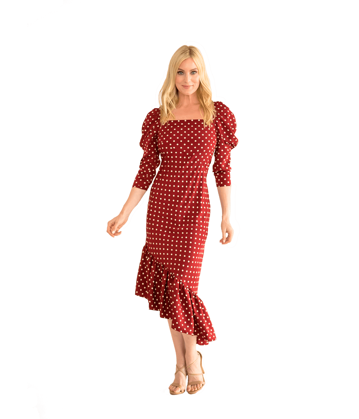 Diagonal Midi Dress - Dot Print - Lady Jetset
