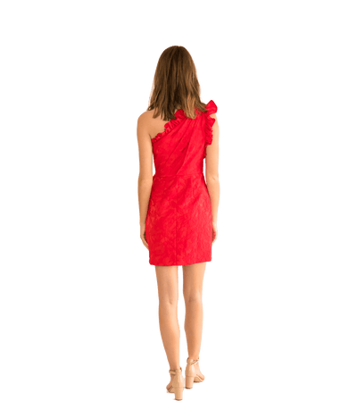 Lipstick Red One Shoulder Cocktail Dress - Lady Jetset