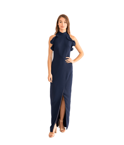 Navy Ruffle Gown - Lady Jetset
