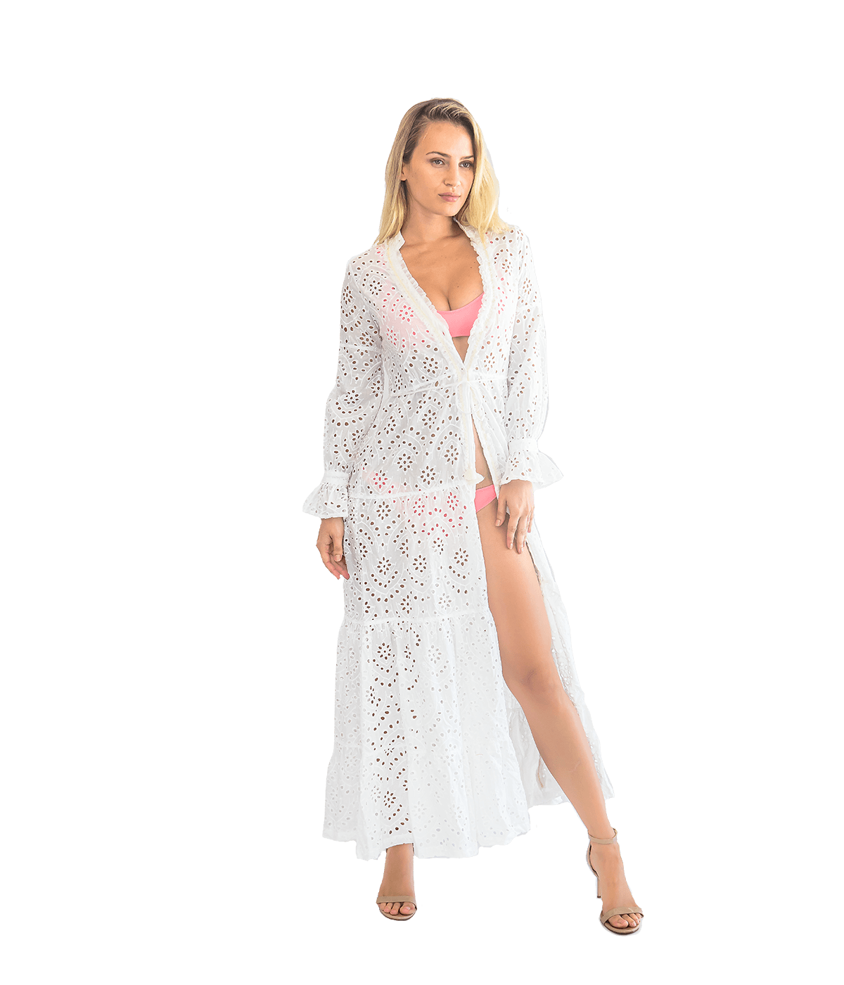 Rita Eyelet Ruffle Beach Dress - White - Lady Jetset