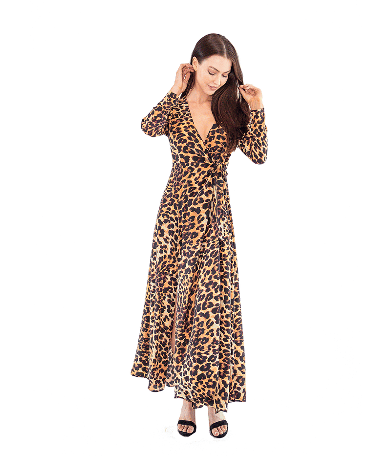 Leopard Wrap Front Maxi Dress