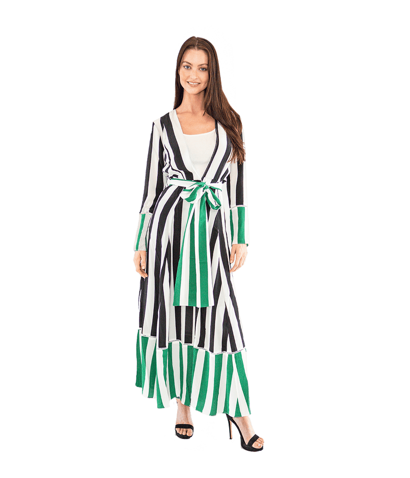 FINAL SALE Contrast Stripe Maxi Cardigan - Green - Lady Jetset