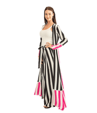 Load image into Gallery viewer, Contrast Stripe Maxi Cardigan - Pink - Lady Jetset