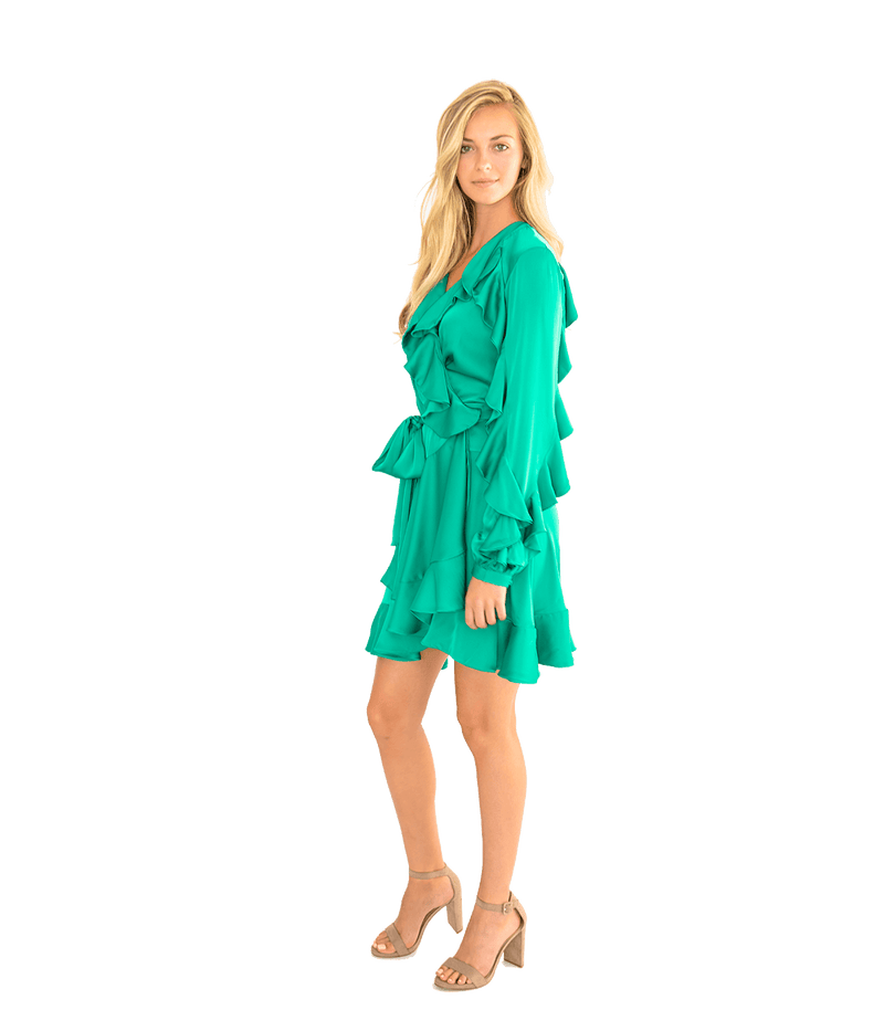 Ruffle Mini Wrap Dress
