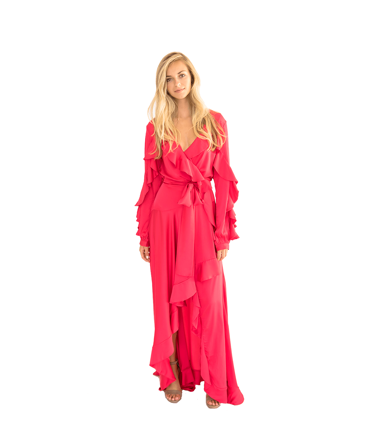 Ruffle Sleeve Maxi Wrap Dress