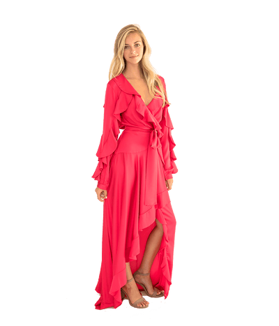 Ruffle Sleeve Maxi Wrap Dress - Lady Jetset