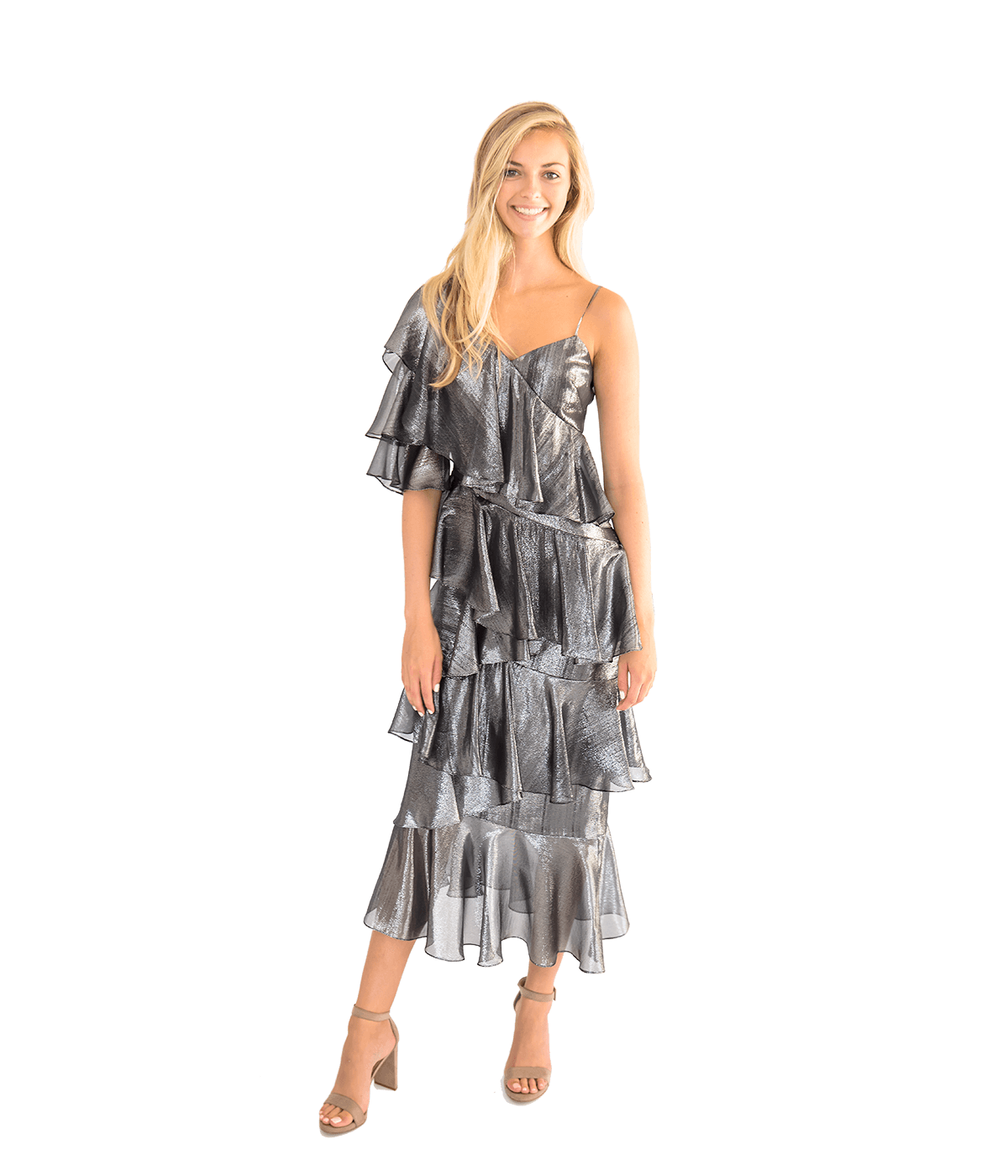 Bowie Gunmetal Ruffle Dress