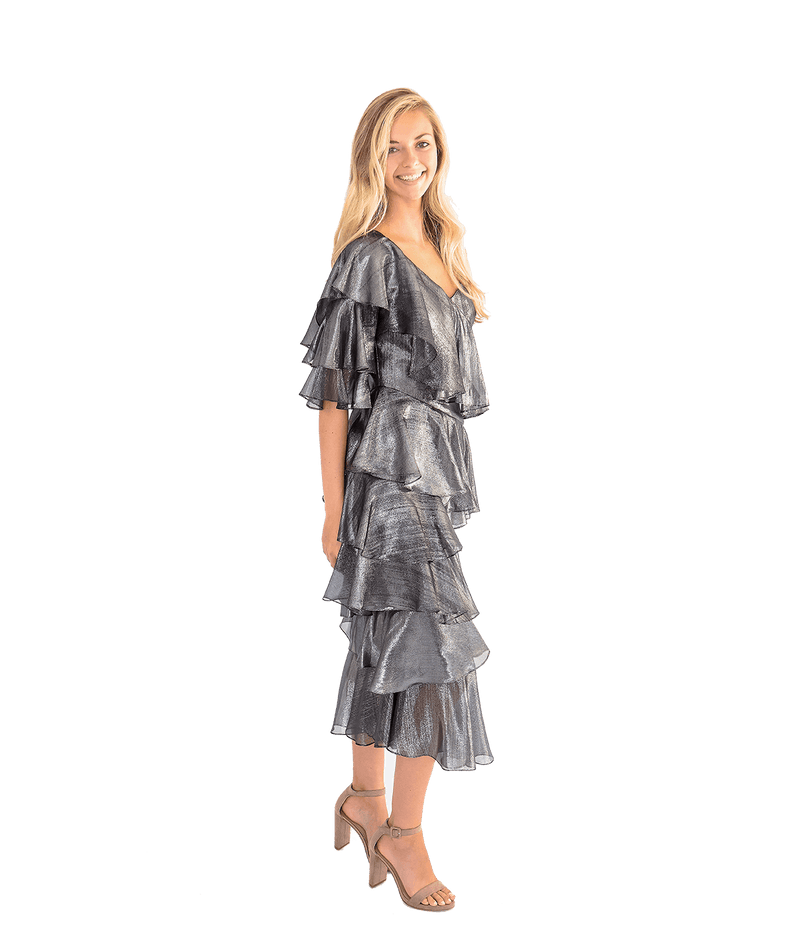 Bowie Gunmetal Ruffle Dress - Lady Jetset