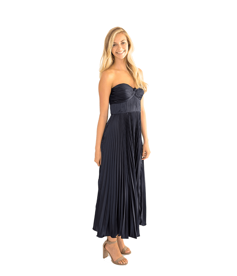 Belle Pleated Strapless Gown - Lady Jetset