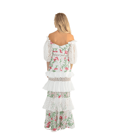 Lace Embroidered Long Sleeve Dress - Lady Jetset