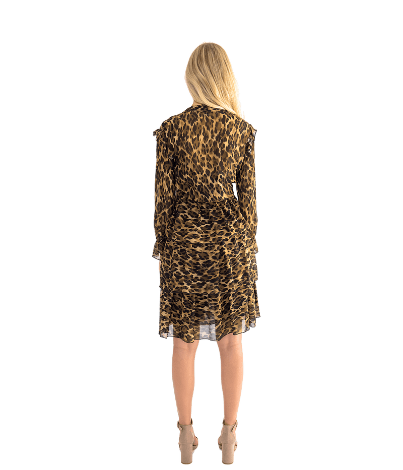 FINAL SALE Leopard Ruffle Dress - Lady Jetset