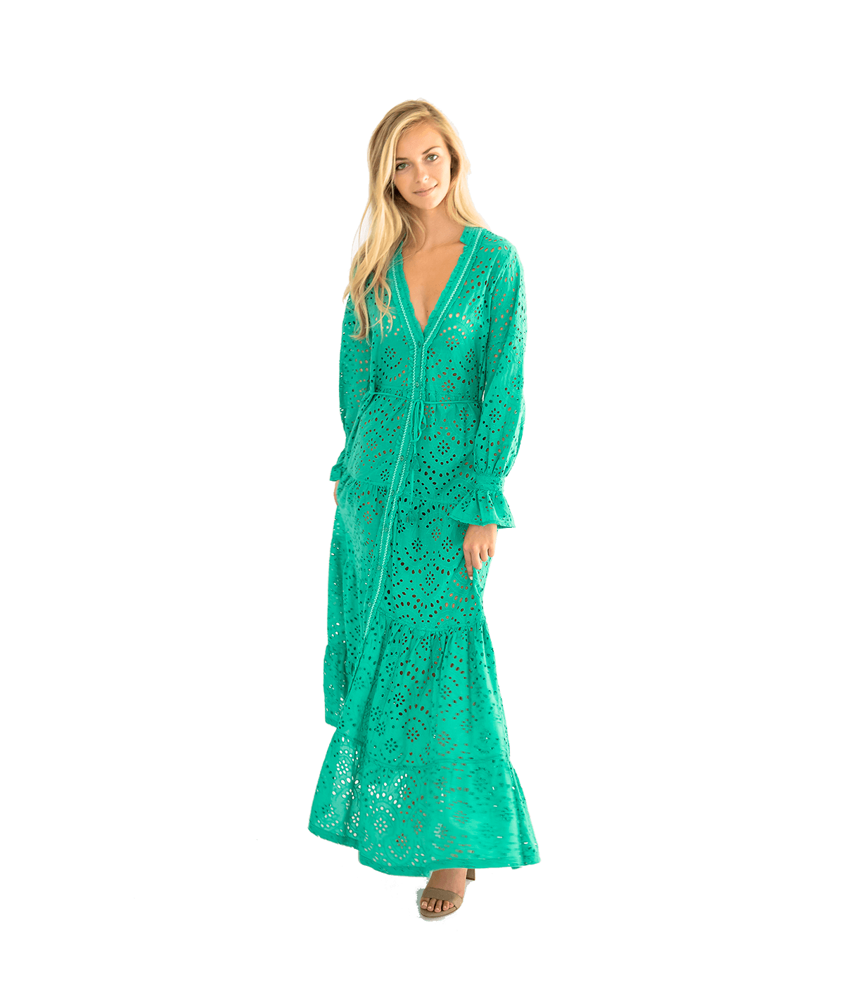 FINAL SALE Rita Eyelet Ruffle Beach Dress - Green - Lady Jetset