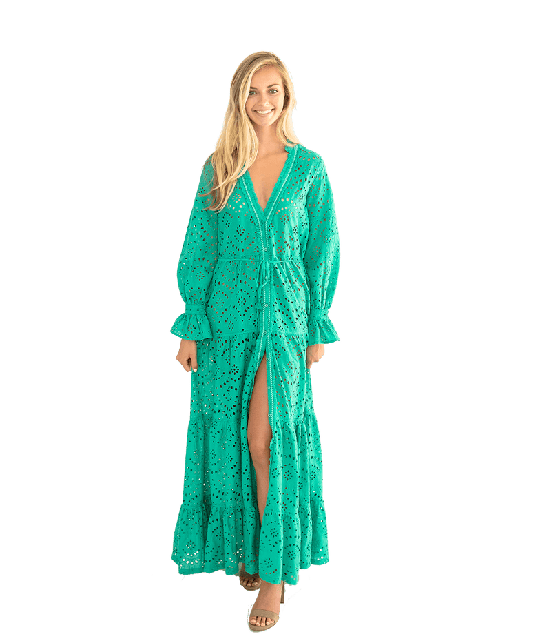 Rita Eyelet Ruffle Beach Dress - Green - Lady Jetset