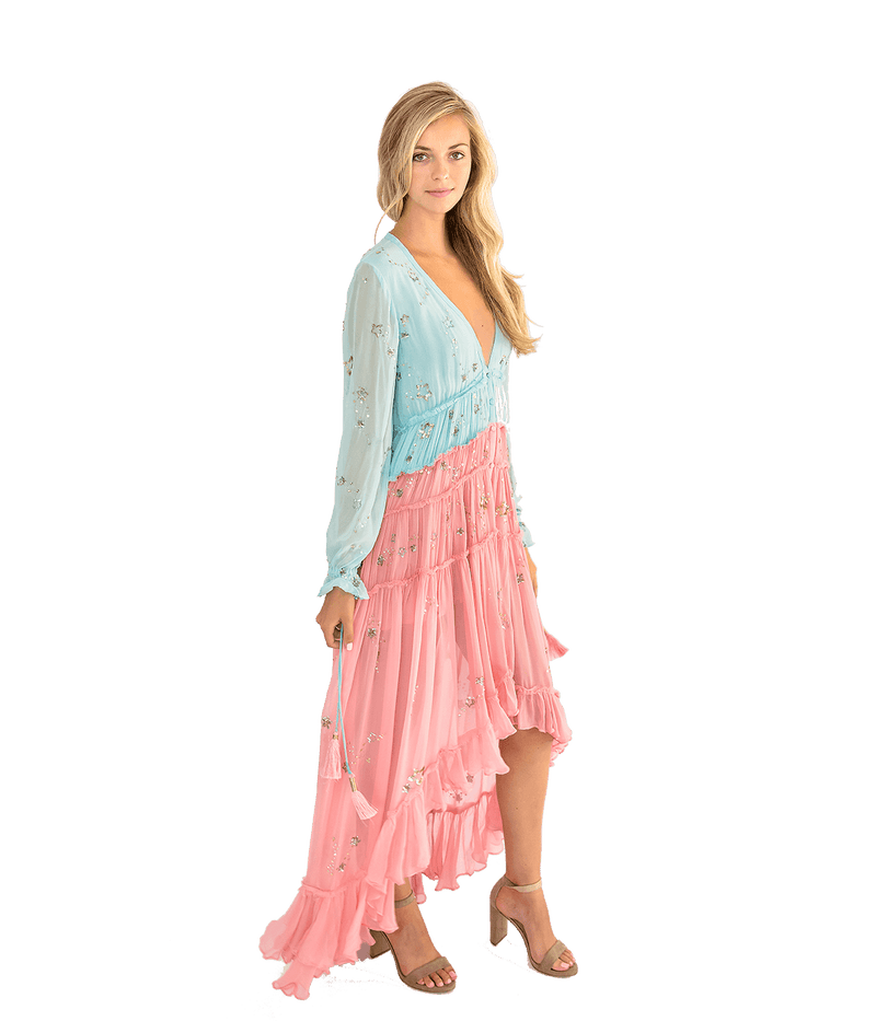 Bicolor Star Light High Low Dress