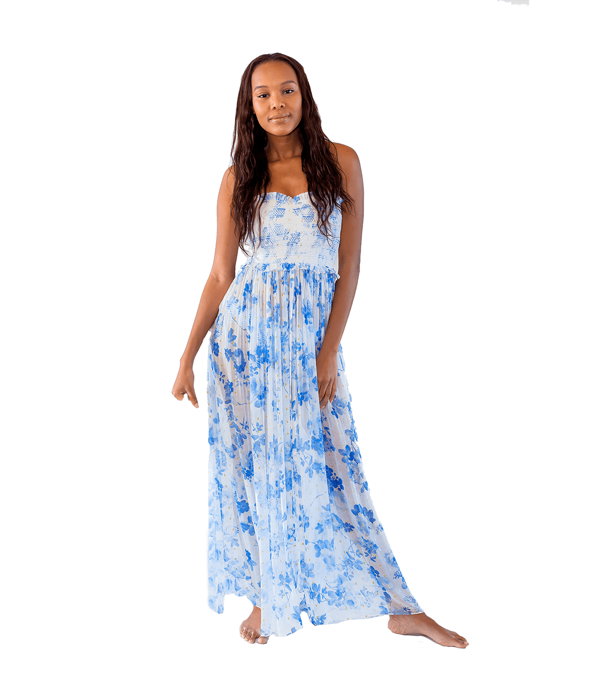 FINAL SALE Blue Iris Long Dress - Lady Jetset