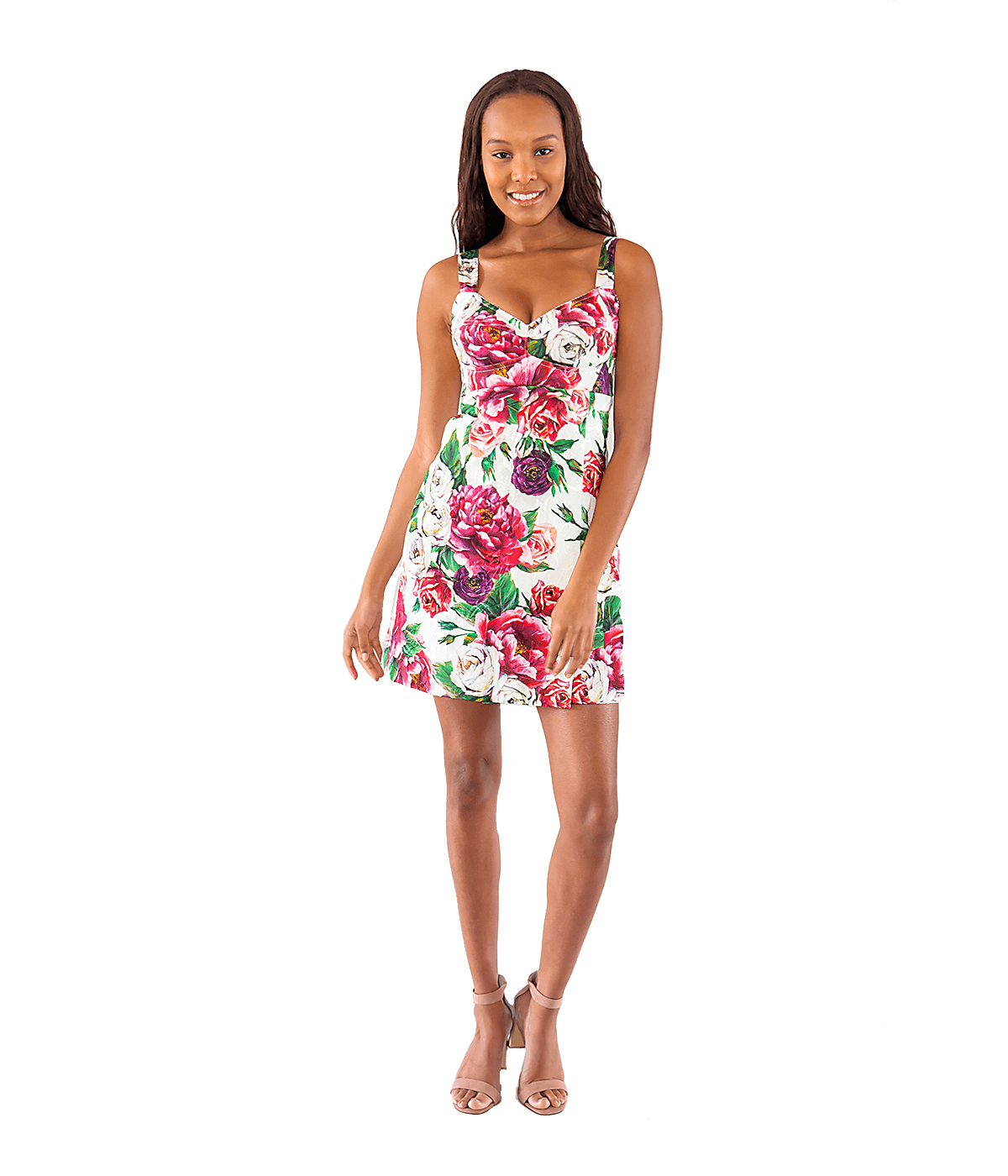 Peony and Rose Print Brocade Mini Dress
