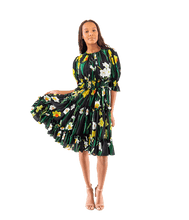 Load image into Gallery viewer, FINAL SALE Daffodil-Print Silk Crepe de Chine Dress - Lady Jetset