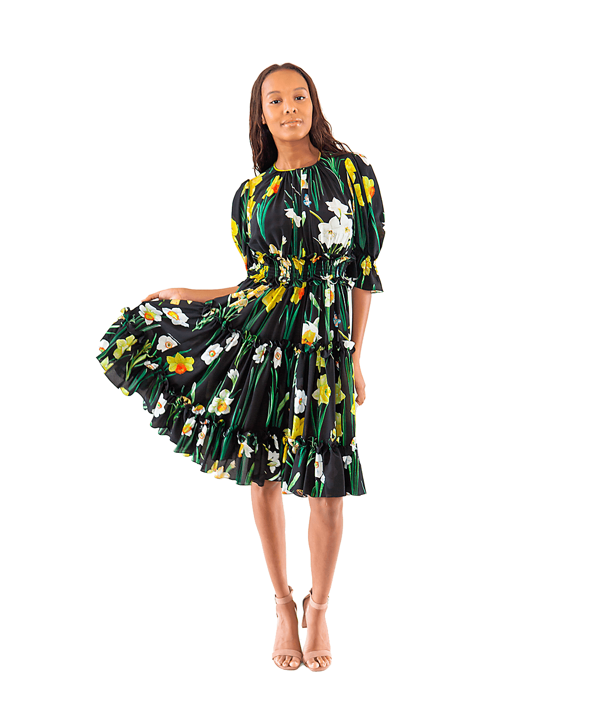 Daffodil-Print Silk Crepe de Chine Dress