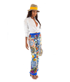 FINAL SALE Majolica and Floral-Print Silk-Twill Pant - Lady Jetset